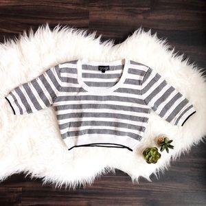 Topshop Striped Sweater Crop Top